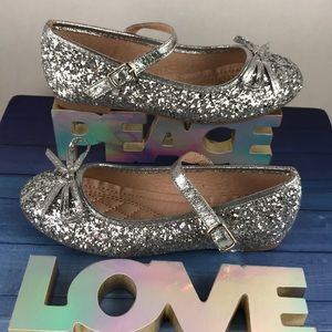 Girls Glittery Flats With Strap.